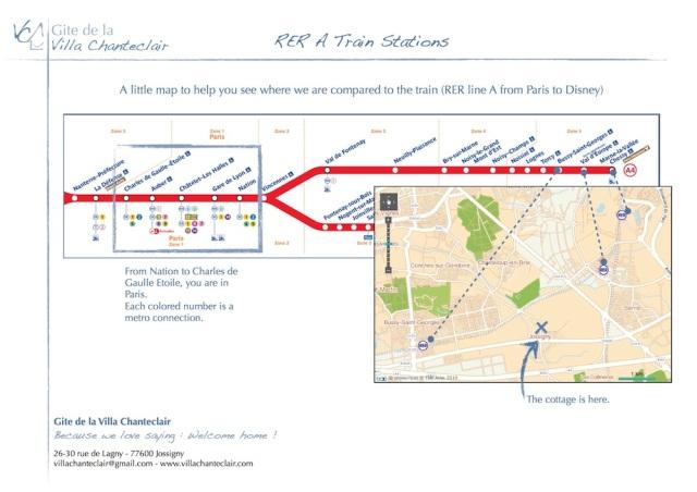 Une petite carte pour situer les stations RER les plus proches et les stations parisiennes.