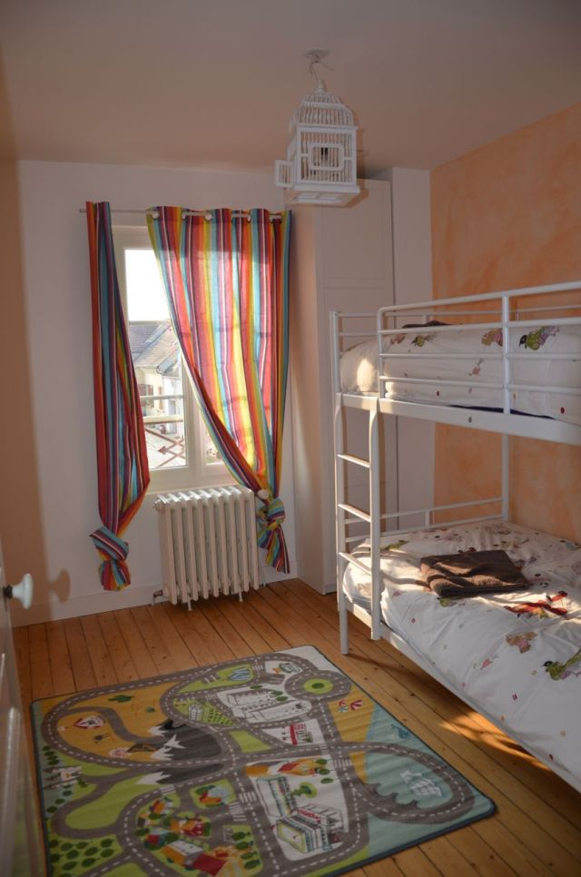 Bunk beds and colorful bedroom for the children