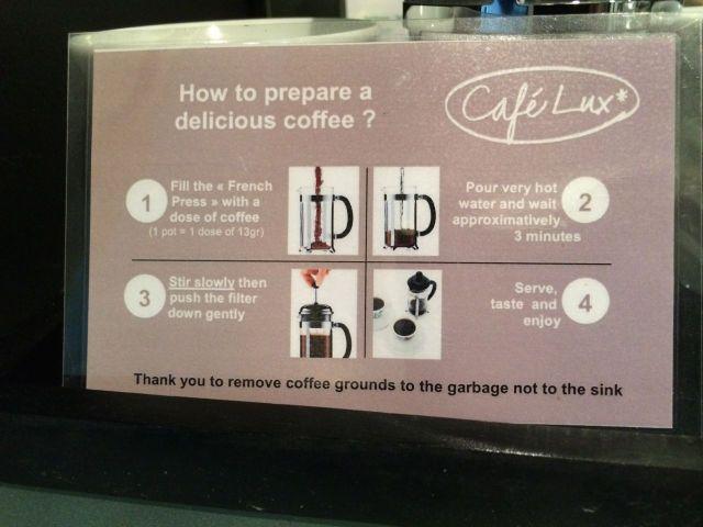 les instructions de préparation du café