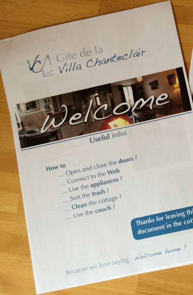 Gite de la Villa Chanteclair User guide